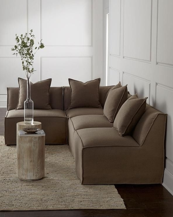 Massoud Carson Armless Taupe Sectional Sofa (View 6 of 10)