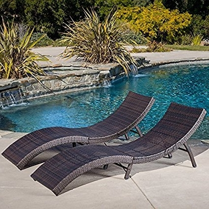 Maureen Outdoor Folding Chaise Lounge Chairs With Well Known Amazon: Maureen Outdoor Multibrown Pe Wicker Folding Chaise (View 9 of 15)