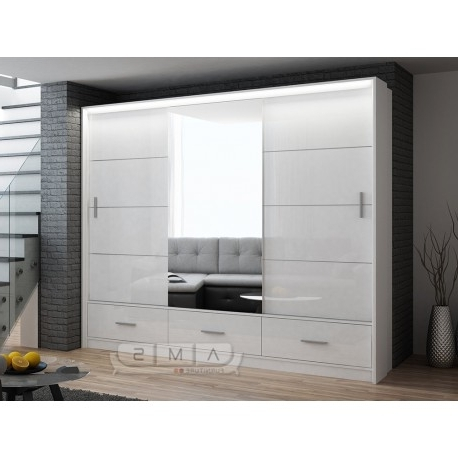 Melody 250Cm High Gloss 3 Door Wardrobe – Cheap Home Furniture With Fashionable High Gloss Wardrobes (View 10 of 15)