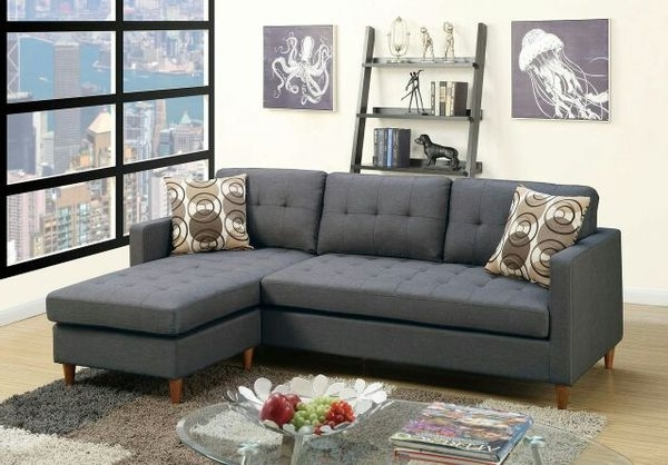Memphis Tn Sectional Sofas With Regard To Fashionable Poundex Black Sectional Sofa With Pillows F7094 (Furniture) In (View 4 of 10)