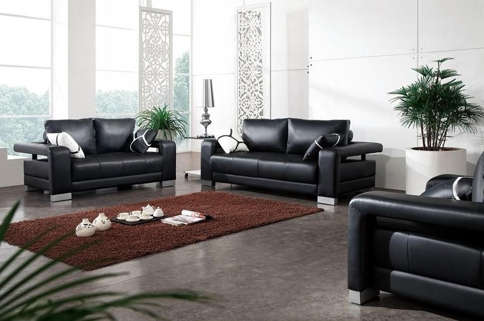 Michigan Sectional Sofas With Well Known Excellent Black Leather Sofa Set With Matching Throw Pillows (View 5 of 10)