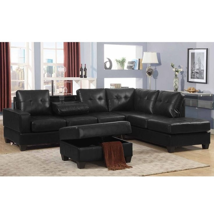 Milo Black Tufted Sectional With Storage Ottoman (View 6 of 10)