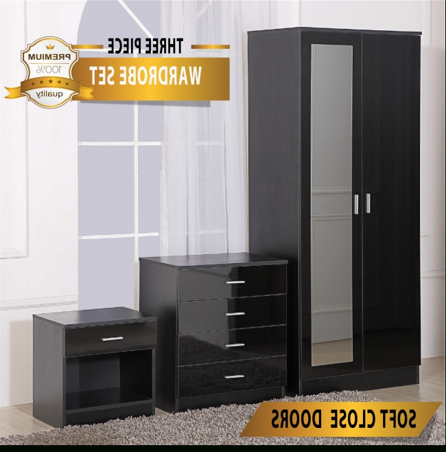 Mirrored High Gloss Black Bedroom Furniture 3 Piece Set – Wardrobe In Popular Black Gloss Mirror Wardrobes (View 10 of 15)