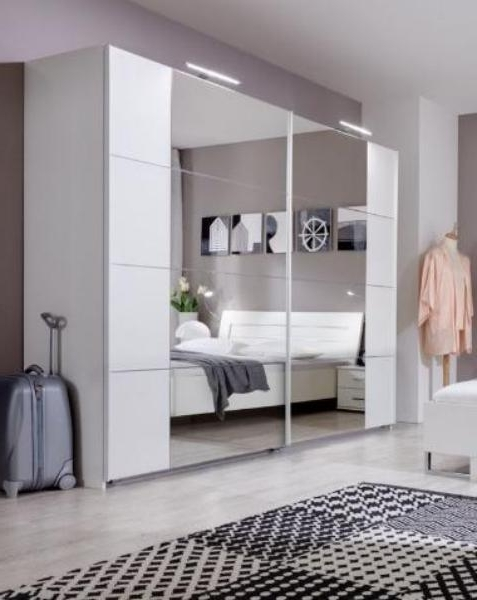Mirrored Wardrobes Intended For Newest Sliding Door Wardrobe Alpine White And Mirrored –  (View 8 of 15)