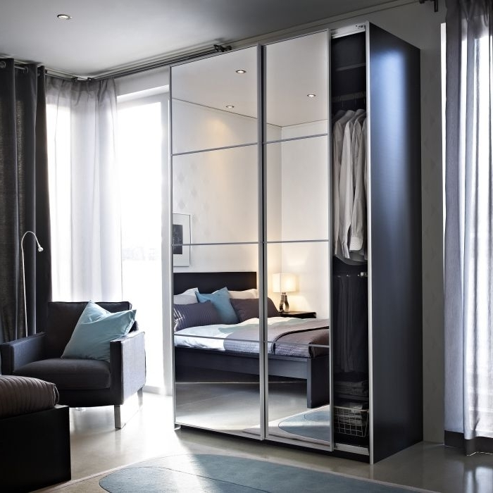 Mirrored Wardrobes Pertaining To Most Recent Miroir Sliding Mirror Doors Mirrored Wardrobe Glass – Coriver (View 9 of 15)
