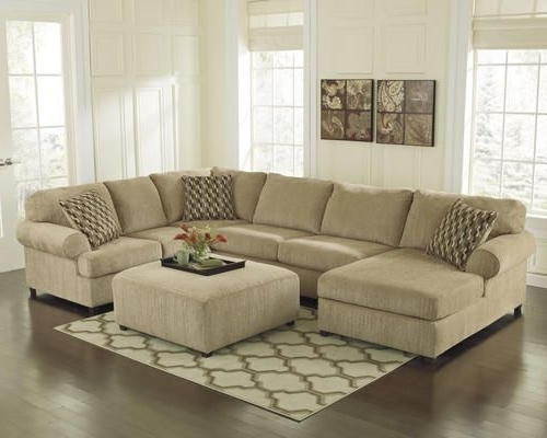 Mocha Chenille Sectional With Chaise $666 With Sale And Mail In Intended For Most Recent Beige Sectionals With Chaise (View 8 of 15)