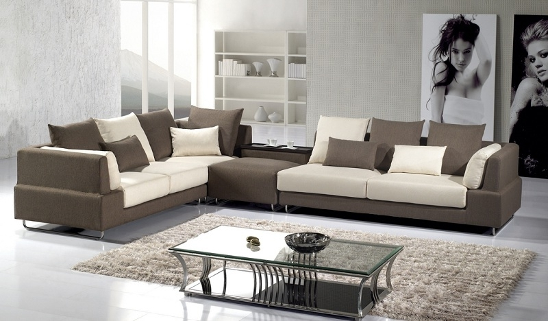 Modern Brown Microfiber Sectional Sofa – Shop For Affordable Home Intended For Favorite Modern Microfiber Sectional Sofas (View 4 of 10)
