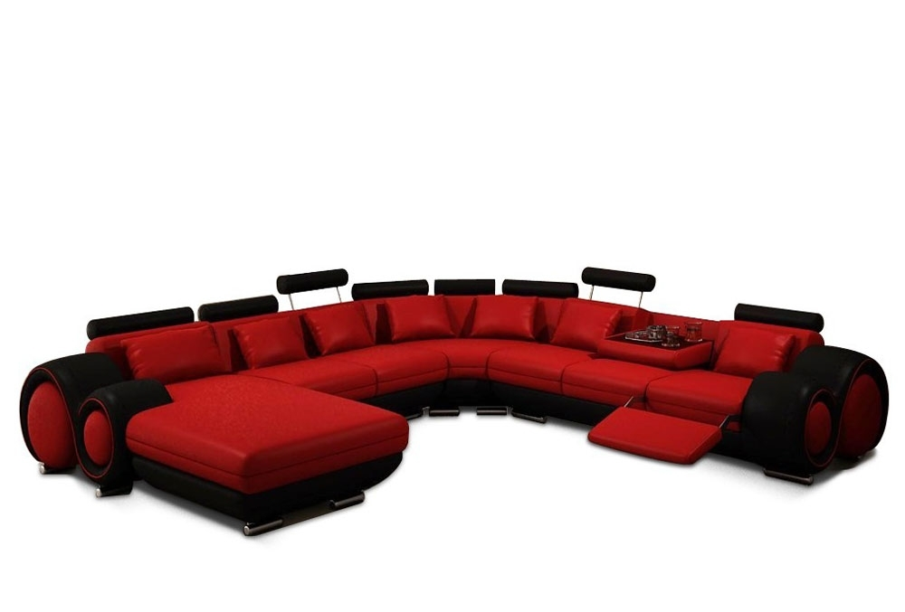 Modern Red And Black Bonded Leather Sectional – Astra (View 6 of 10)