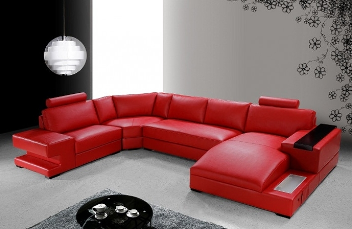 Modern Red Leather Sectional Sofa Regarding Preferred Red Leather Sofas (View 6 of 10)