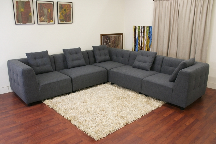 Modern Sectional Sofas Within Widely Used Baxton Studio Alcoa Gray Fabric Modular Modern Sectional Sofa (View 7 of 10)