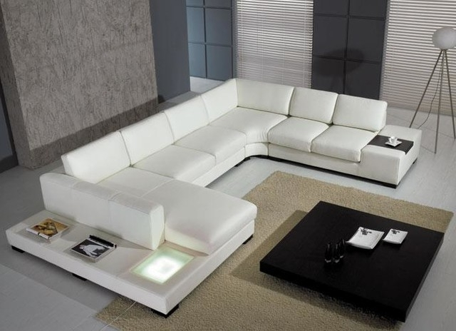Modern U Shaped Sectionals Within Preferred Modern U Shape Sectional Sofa In White Bonded Leather – Modern (View 7 of 10)
