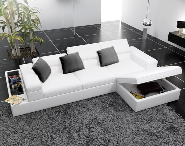 Modern White Leather Corner Sofas With Underneath Storage – Google Pertaining To Most Popular Sectional Sofas With Storage (View 2 of 10)