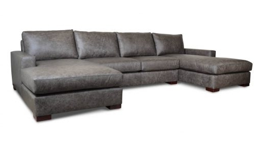 Monroe Double Chaise Leather Sectional – Made In Usa Inside Leather Couches With Chaise (View 7 of 15)