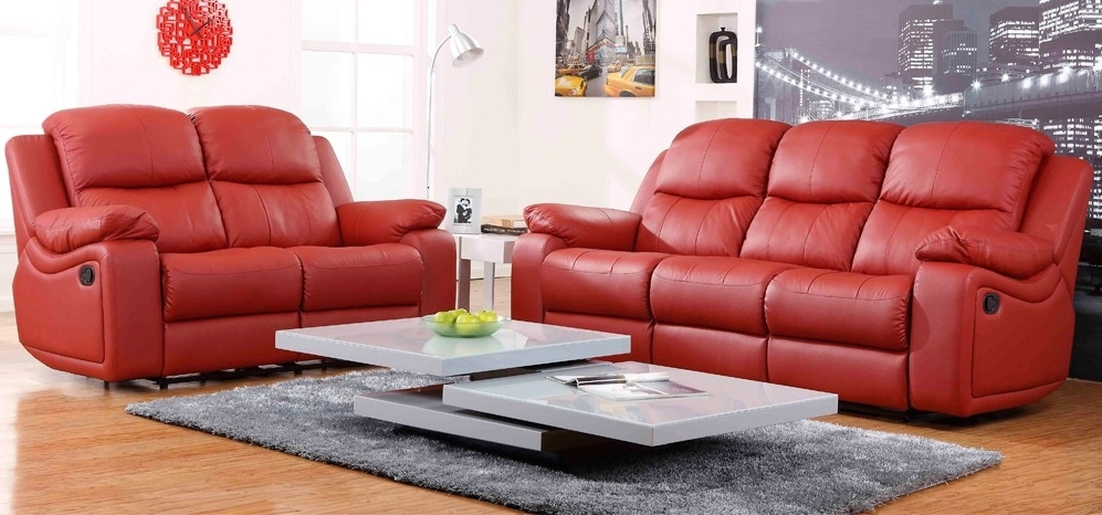 Montreal Rosso Red Reclining 3 + 2 Seater Leather Sofa Set Throughout Trendy Red Leather Sofas (View 4 of 10)