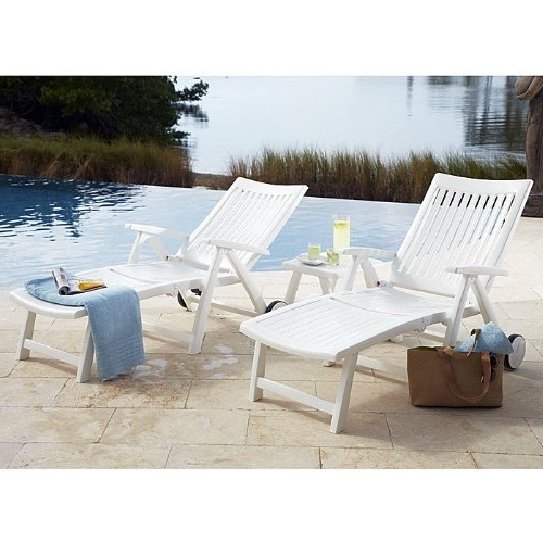 Most Current Amazon : Roma Folding Lounger In White Resin : Patio Lounge For Kettler Chaise Lounge Chairs (View 10 of 15)