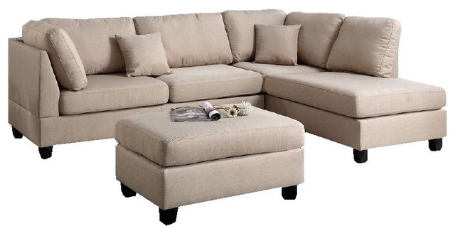 Most Current Beige Sectionals With Chaise For Fabric Reversible 3 Piece Sectional Chaise Sofa Set Ottoman For (View 9 of 15)