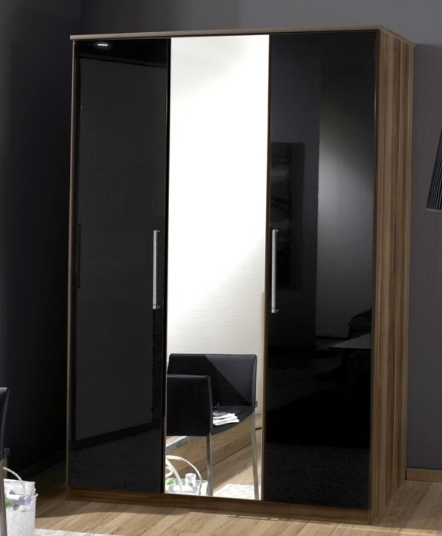 Most Current Black Gloss 3 Door Wardrobes Within Dresden 3 Door German Wardrobe Black Gloss And Walnut  (View 13 of 15)