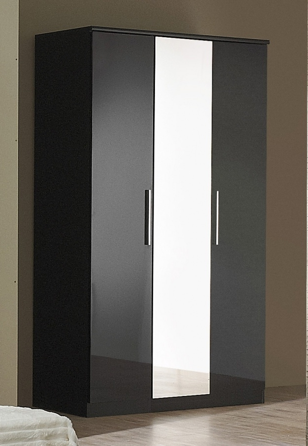 Most Current Black High Gloss 3 Door Wardrobe – Homegenies Within Black Gloss 3 Door Wardrobes (View 7 of 15)