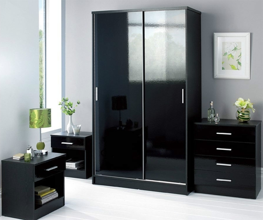 Most Current Black Wardrobe Design With Sliding Doors And Gloss Colors (View 6 of 15)