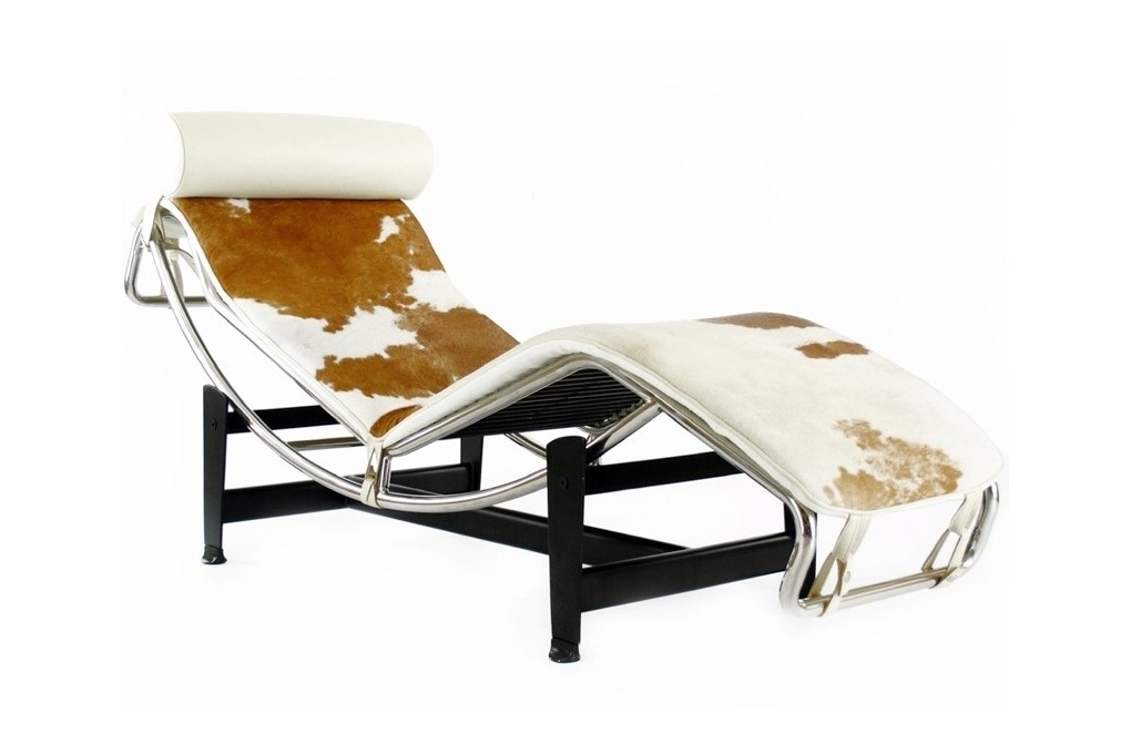 Most Current Brown Chaise Lounge Chair By Le Corbusier Pertaining To Charles Le Corbusier Inspired Lc4 Brown And White Pony Recliner (View 14 of 15)