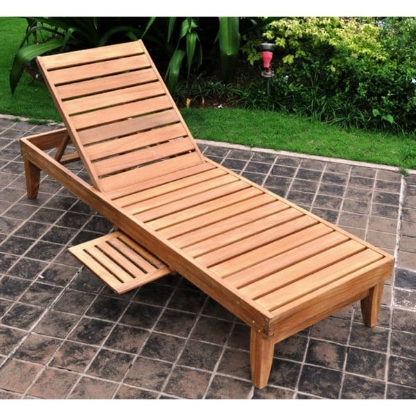 Most Current Deluxe Teak Chaise Lounge With Tray – Free Shipping Today Intended For Teak Chaise Lounges (View 6 of 15)