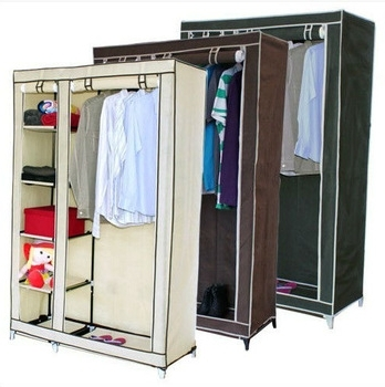 Most Current Double Hanging Rail Wardrobes Inside Double Canvas Wardrobe Cupboard Clothes Hanging Rail & Storage (View 13 of 15)