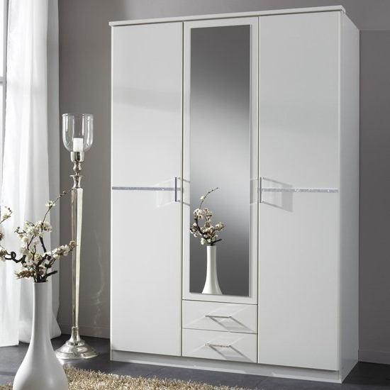 Most Current Florence White Wardrobe With Diamante 3 Door 2 Drawer 1 Regarding White 3 Door Wardrobes With Mirror (View 2 of 15)