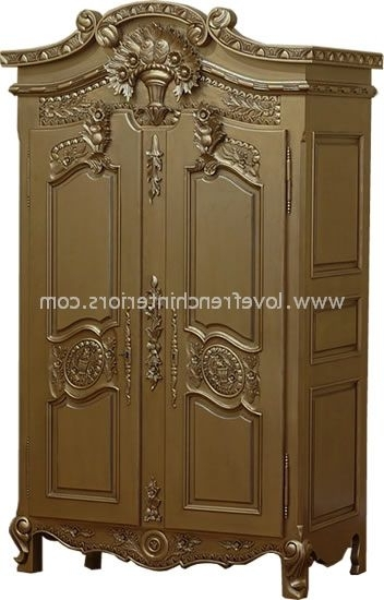 Most Current French Armoire Wardrobe In Antique Gold Within Rococo Wardrobes (View 7 of 15)