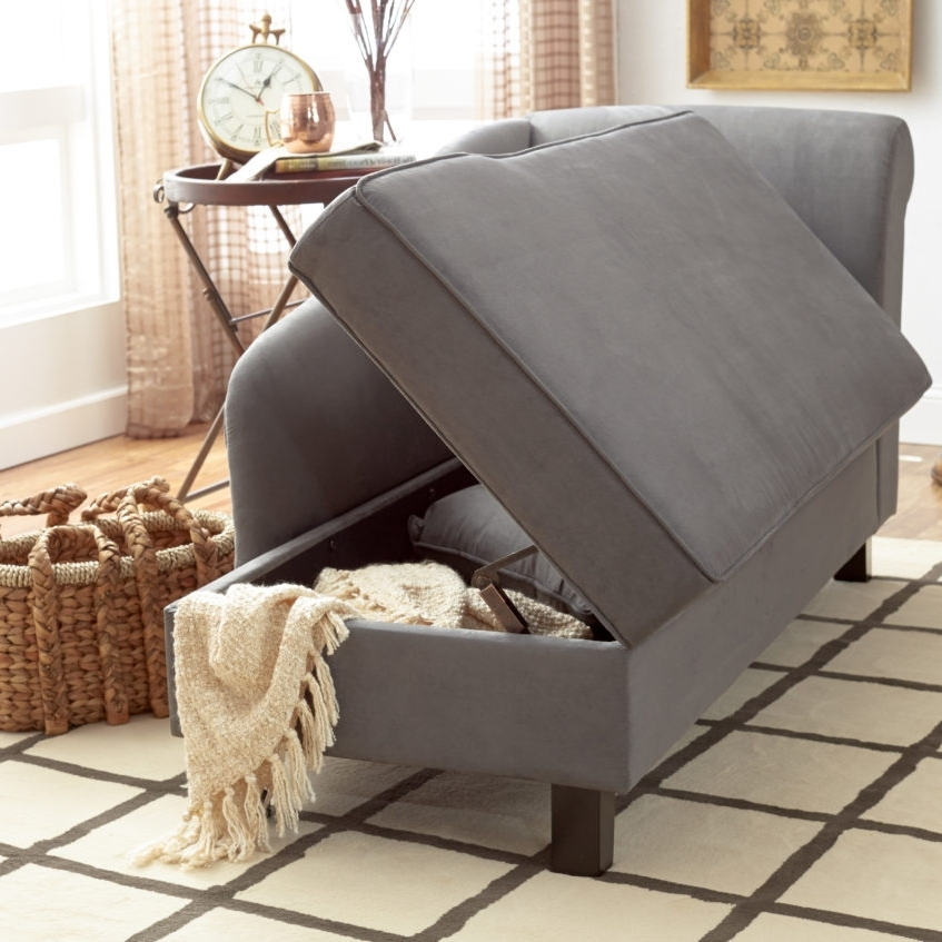 Most Current Furniture Grey Cotton Storage Chaise For Minimalist Family Room Within Storage Chaise Lounges (View 5 of 15)