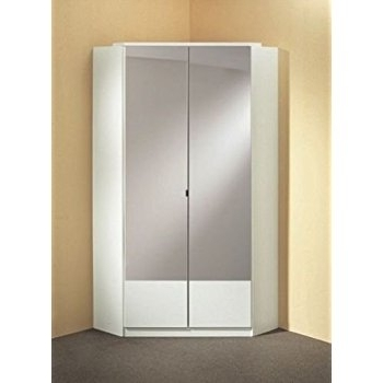 Most Current Germanicatm Image 2 Door Mirrored Corner Wardrobe In White Colour Pertaining To White Gloss Corner Wardrobes (View 3 of 15)