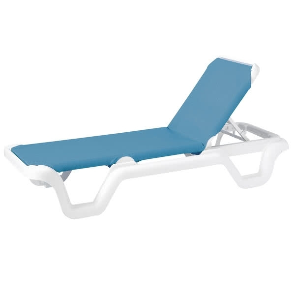 Most Current Grosfillex Chaise Lounge Chairs In Grosfillex 99404194 / Us404194 Marina White / Sky Blue Adjustable (View 9 of 15)