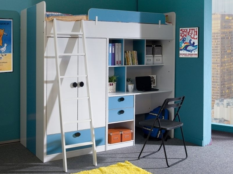 Most Current High Sleeper Bed With Wardrobes For High Sleeper Bunk With Wardrobe And Desk – Blue And White Oxford Bed (View 9 of 15)