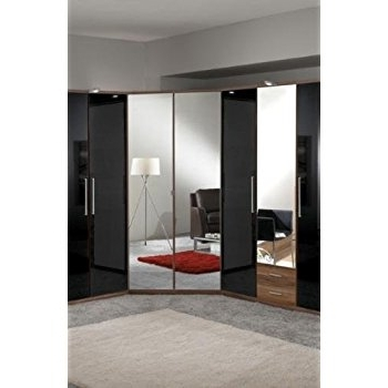 Most Current Mirrored Corner Wardrobes Within Milano Mirror And Walnut 2 Door Corner Wardrobe: Amazon.co (View 3 of 15)