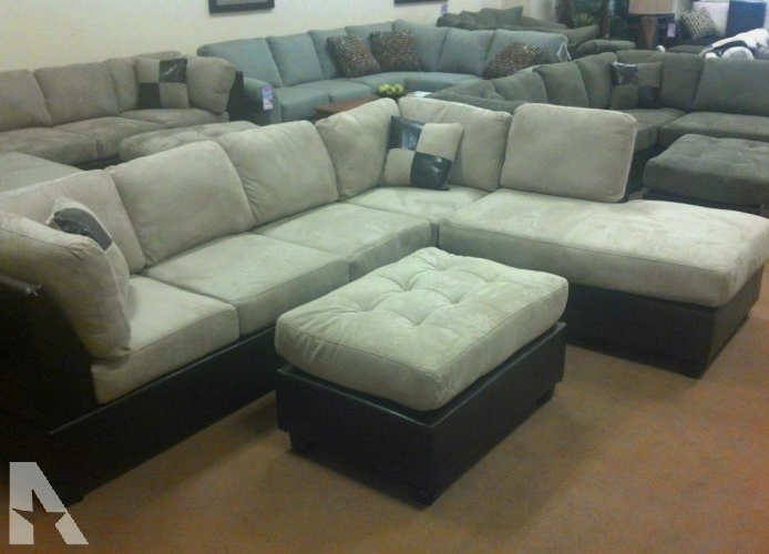 Most Current Modern Ivory Sectional Sofa W/ Leather Trim (In Limited Stock Now Inside Eugene Oregon Sectional Sofas (View 6 of 10)