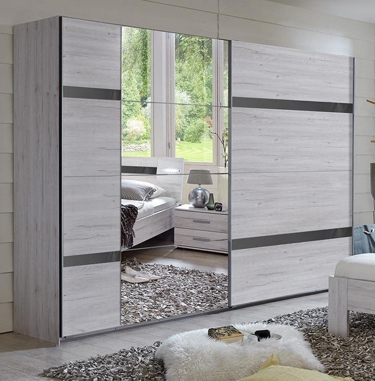 Most Current Oak Mirrored Wardrobes For German Nizza Driftwood White Oak Grey Gloss 225Cm Sliding Mirror (View 7 of 15)