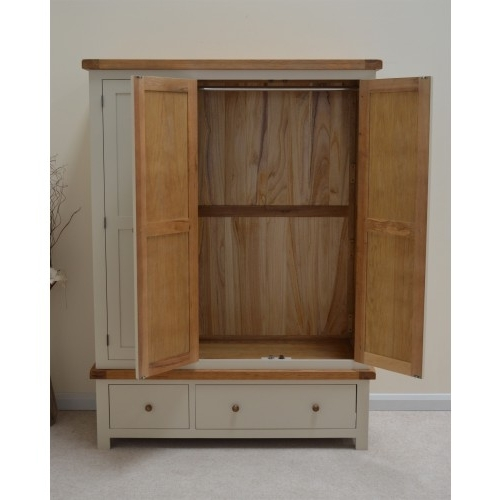 Most Current Painted Oak Triple Three Door Wardrobe With Storage Drawers Inside Painted Triple Wardrobes (View 2 of 15)