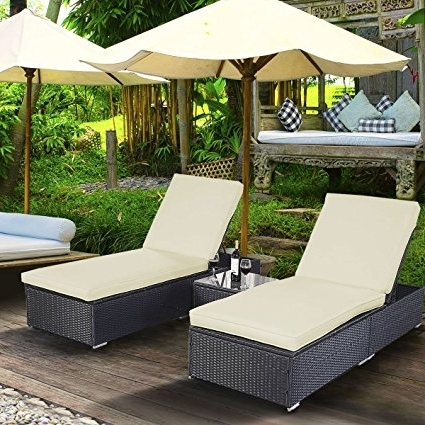 Most Current Pool Chaise Lounges In Amazon : Tangkula 3 Pcs Wicker Outdoor Furniture Pool Chaise (View 7 of 15)