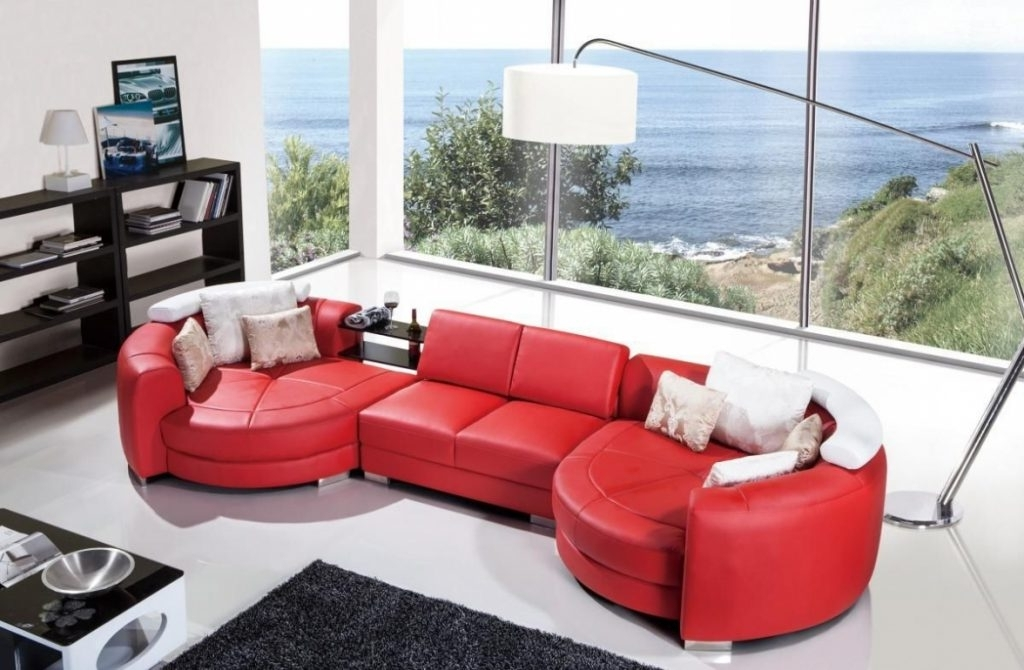 Most Current Red Leather Sectionals With Chaise Intended For Floor Lamp ~ Plush Red Leather Sectional Sofa With Double Round (View 4 of 10)