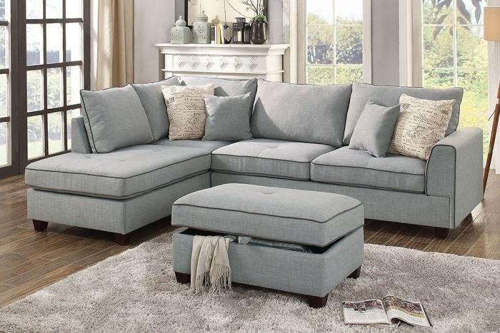 Most Current Reversible Chaise Sofas Inside Poundex F6543 Light Grey Fabric 3Pc Reversible Chaise Sectional (View 2 of 15)
