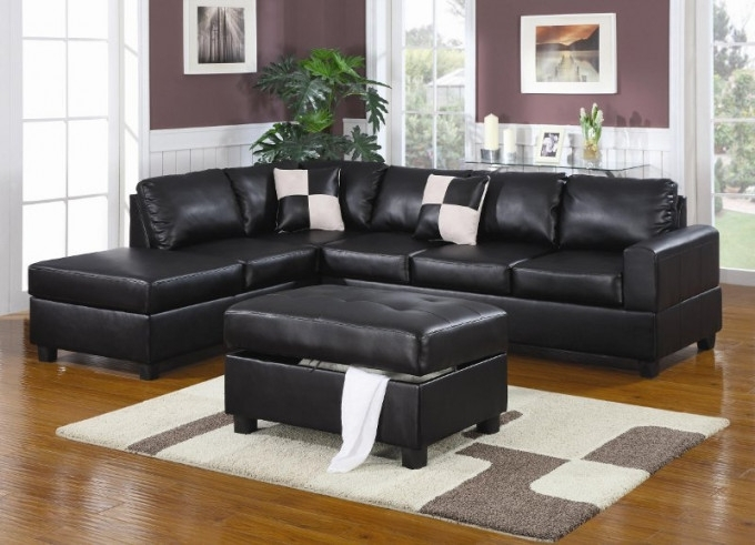 Most Current Sacramento Sectional Sofas Intended For Sacramento Black Leather Sectional Sofa With Left Facing Chaise At (View 7 of 10)