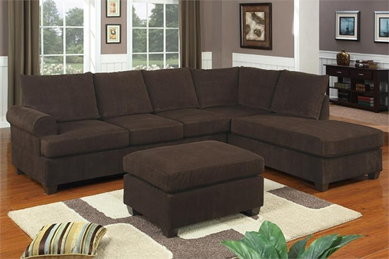 Most Current Sectionals With Reversible Chaise Pertaining To Reversible Chocolate Corduroy Sectional Poundex F (View 12 of 15)