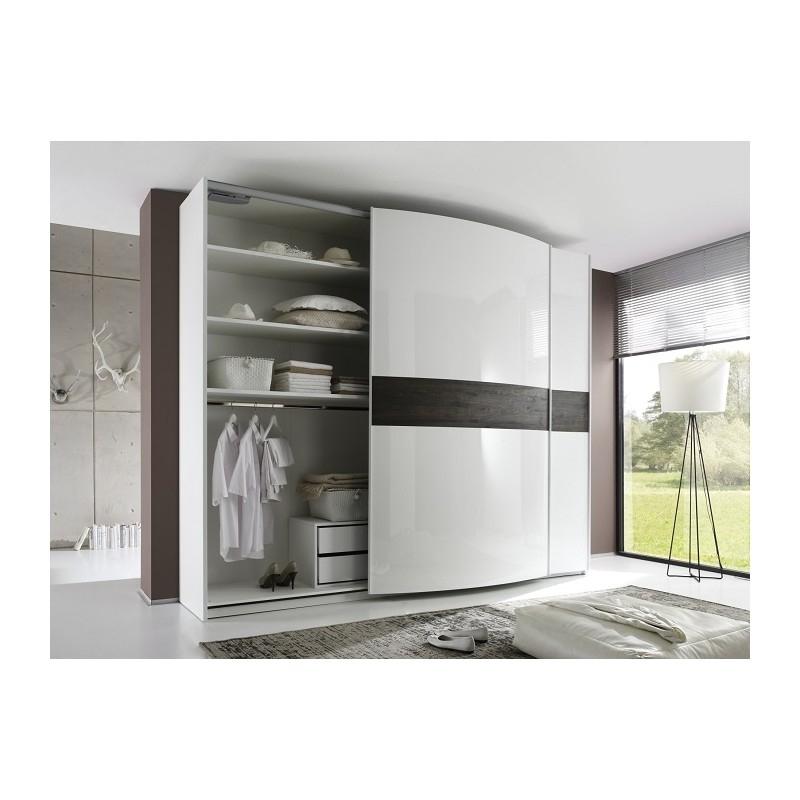 Most Current Sibilla High Gloss Wardrobe With Curved Doors – Wardrobes – Sena For Curved Wardrobes Doors (View 11 of 15)