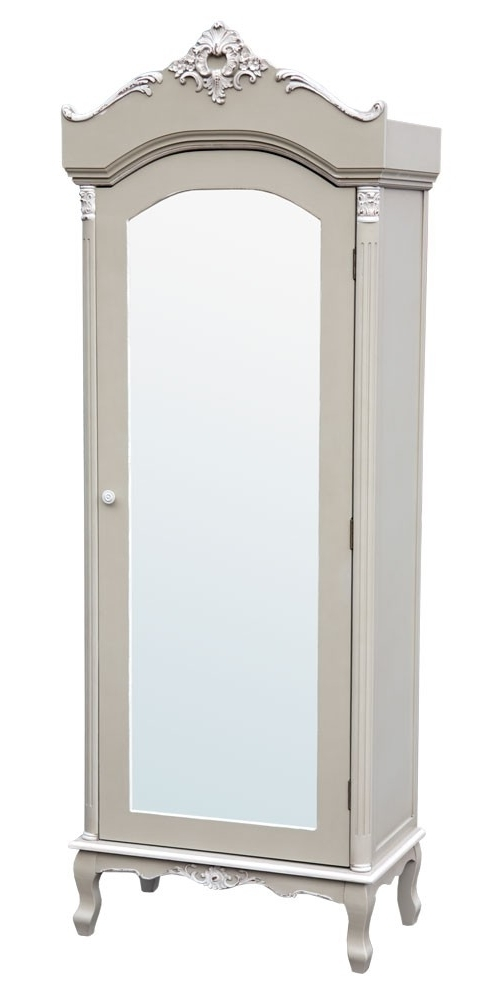 Most Current Single Door Mirrored Wardrobes In Grey Single Door Mirrored Wardrobe (View 2 of 15)
