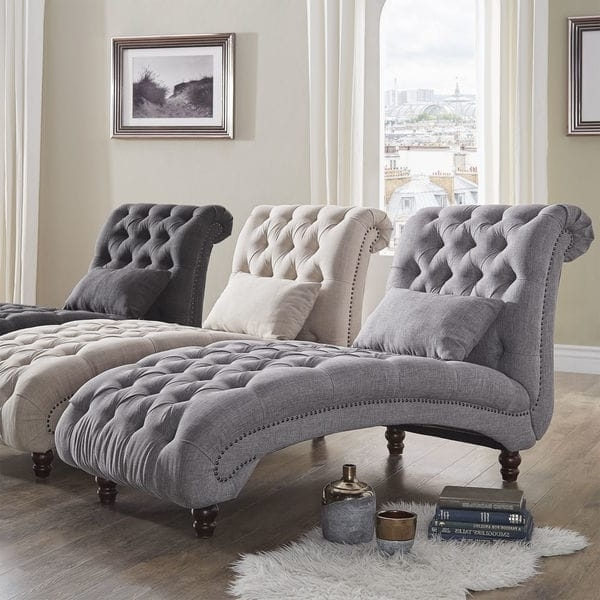 Most Current Tufted Chaise Lounges Regarding Gracewood Hollow Balogh Tufted Oversized Chaise Lounge – Free (View 8 of 15)