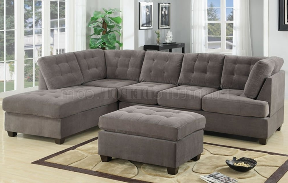 Most Current Tufted Sectional Sofas With Chaise Regarding F7139 Reversible Tufted Sectional In Charcoal Suedepoundex (View 1 of 10)