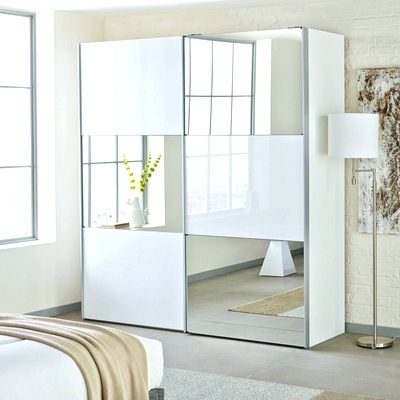 Most Current White Mirrored Wardrobes Regarding Wardrobes ~ Mirrored White Glass Sliding Wardrobe Loft Two Door (View 4 of 15)