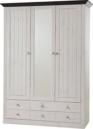 Most Current Whitewash Wardrobes With Steens Monaco 2+1 Glazed Door 2+2 Drawer Pine Wardrobe, Whitewash (View 5 of 15)