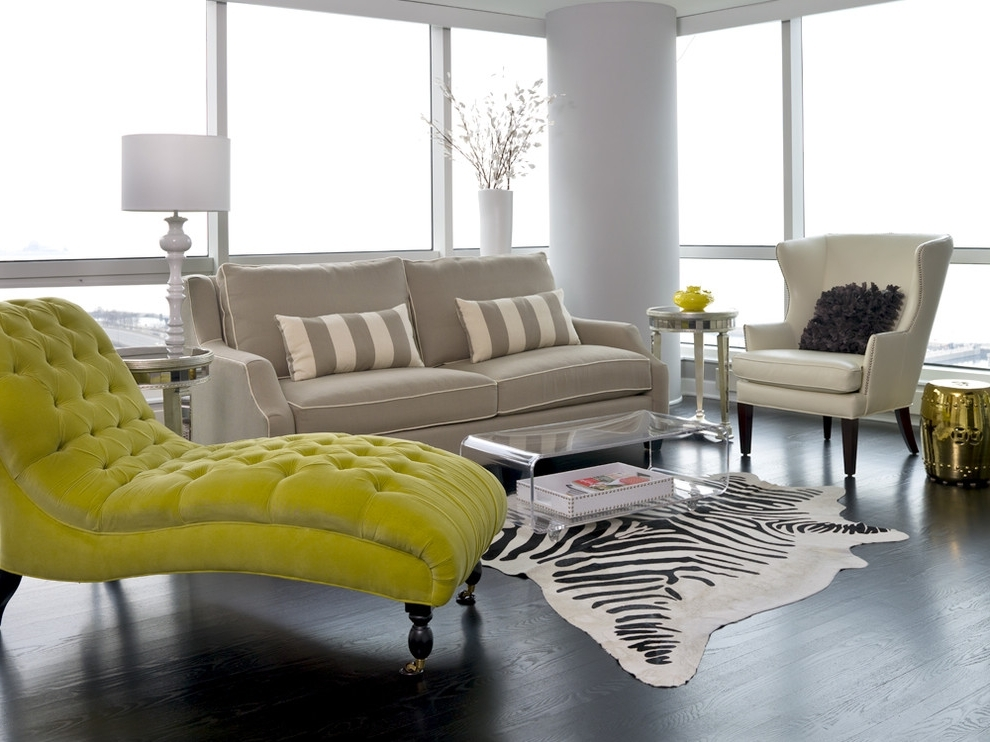 Most Current Yellow Chaise Lounge Chairs Pertaining To Tufted Chaise Lounge Chair In Neon Yellow Color In A Living Room (View 8 of 15)