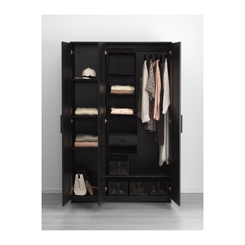 Most Popular Black Wood Wardrobes For Brimnes Wardrobe With 3 Doors – White – Ikea (View 4 of 15)