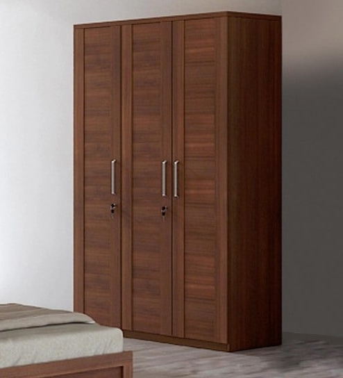 Most Popular Buy Kosmo Grace Three Door Wardrobe In Rigato Walnut Finish Intended For Cheap 3 Door Wardrobes (View 2 of 15)